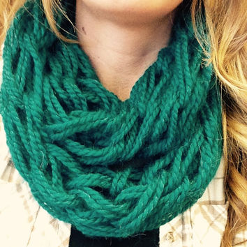 Deep Teal Double Wrap Chunky Arm Knit Infinity Scarf