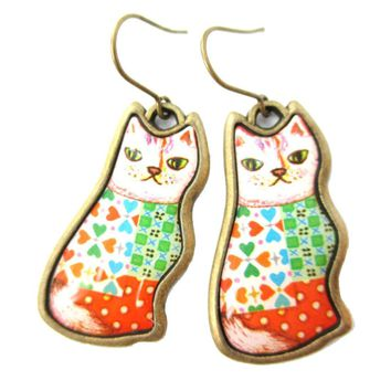 Colorful Illustrated Kitty Cat Animal Dangle Earrings in Orange and Green | DOTOLY