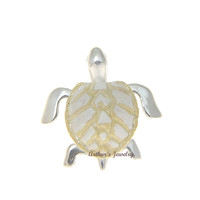 925 STERLING SILVER 2 TONE YELLOW GOLD 3D HAWAIIAN HONU SEA TURTLE SLIDE PENDANT