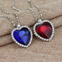 Crystal Heart Romantic Titanic Necklace