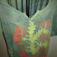 Batik Tie Dyed Motherhood Maternity shirt, medium, fall colors, short sleeves, cotton