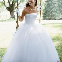 Strapless Tulle Ball Gown with Beaded Satin Bodice - David's Bridal- mobile