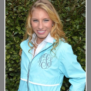Monogrammed Rain Coat Jacket Aqua Blue - Waterproof Monogrammed Personalized Customized Initials Embroidered Aqua Turquoise Tiffany Blue