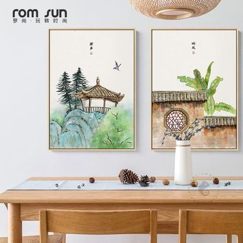 Japan Style Elegant Watercolor Plant Flower Happy Life Painting Wall Art Pictures Girl Cute For Living Room Antiquity Home Decor