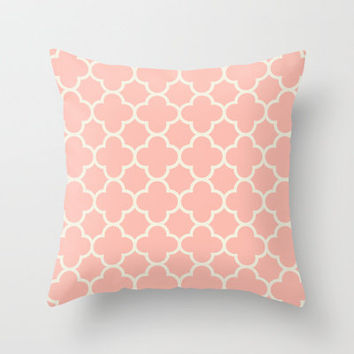 MOROCCAN {CORAL & OFF WHITE } Throw Pillow by natalie sales