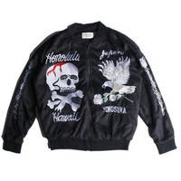Indie Designs Kanye West Favorite Japanese Yokosuka Velvet Embroidered Bomber Jacket