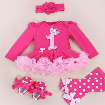 Baby Girl Clothing Sets baby Word crown Lace Tutu Romper Dress Jumpersuit+Headband+Sho