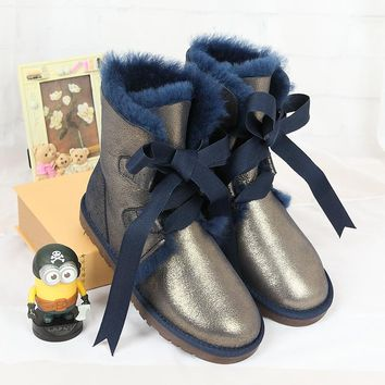 100% high quality snow boots in the winter of 2017 new Australian natural sheep fur boots