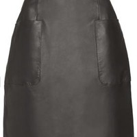 Angie Black Leather Skirt by Unique - Black