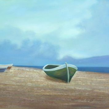 Boats under the Blue Sky Art Oil Painting