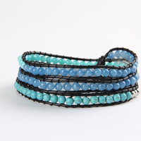 Green and Blue Mix Wrap Bracelet
