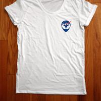 NASA alien head Women Tee shirt loose neck made in usa
