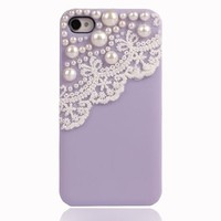 Lace with Pearl iPhone 4 / 4s Case-light Purple