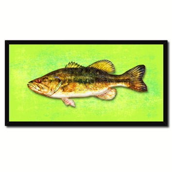Bass Fish Green Canvas Print Picture Frame Gifts Home Decor Nautical Wall Art