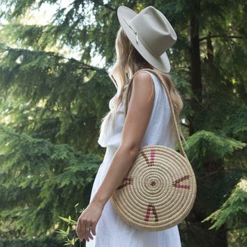 Vintage Round Straw Bag, Moroccan Woven Basket Purse, Big Wicker Basket Purse, Round Rattan Bag, Boho Summer Market Bag, Beach Bag Tote