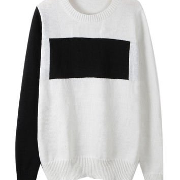 White Contrast Round Neck Long Sleeve Jumper