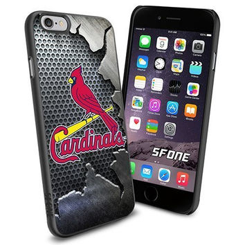 MLB, St. Louis Cardinals Baseball Iron Cracked BG iPhone 6 Smartphone Case Cover Collector iPhone TPU Rubber Case Black