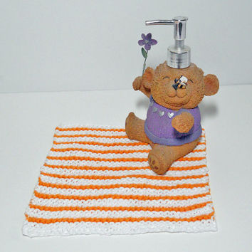 Striped Cotton Washcloth/ Dishcloth, Hand Knit, 100% Cotton in Orange and White, mix and match to make a set