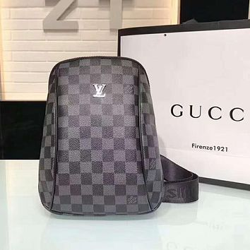 LV Louis Vuitton Trending Women Men Stylish Monogram Leather Chest Bag Shoulder Bag Backpack Black Tartan I-AGG-CZDL