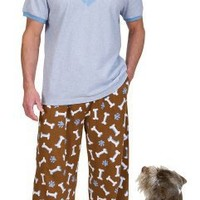 Blue Cotton Dog's Best Friend Pajamas for Men, Extra Large