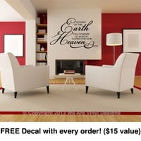 "Scripture Wall Decal. Nothing on this Earth (29"" wide x 18"" tall) CODE 030"