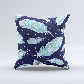 Blue Aztec Feathers and Stars ink-Fuzed Decorative Throw Pillow