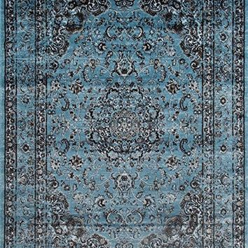 3212 Distressed Blue 7'10x10'6 Area Rug Carpet Large New