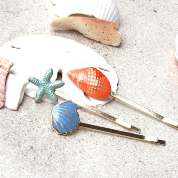 beach barette set, shell hairpin, starfish barette, beach accessory, shell barette, hairpin, seashell hair, hair clip, barette, beachy, clip