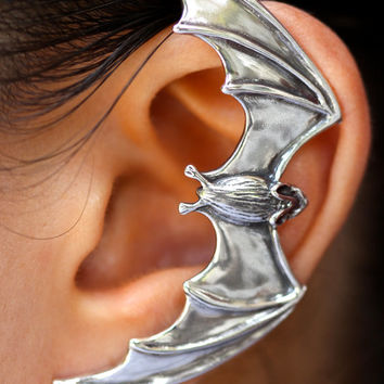 Bat Ear Wrap Silver - Bat Ear Cuff Bat Earring Bat Jewelry Silver Bat - Non-Pierced Earring