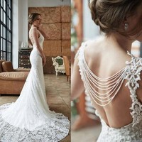 Elegant Mermaid Lace Wedding Dresses Sexy Backless Sheer Neck Sleeveless Beading Embroidery Custom Made Beach Bridal Gowns with Train