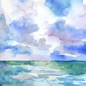 Abstract Ocean Watercolor Painting - 11 x 14 - Giclee Print Reproduction - Beach Painting - Landscape Art