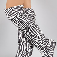 Zebra Print Round Toe Cuff Bow Tie Over-The-Knee Flat Boots