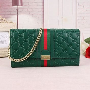 GUCCI WOMEN'S LEATHER INCLINED CHAIN SHOULDER BAG-KUYOU
