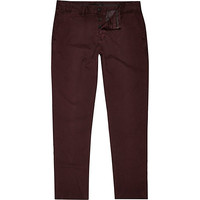 River Island MensBerry red slim chinos
