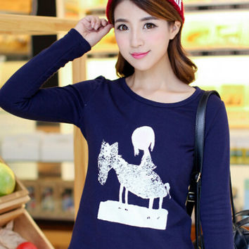 Cartoon Print Long Sleeve Velvet Sweatshirt