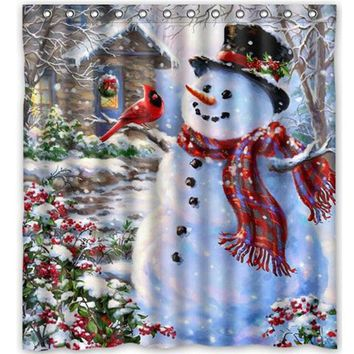 Snowman and Bird Shower Curtain