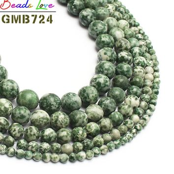 Natural Stone Beads Green Dot Jades Stone Round Beads For Jewelry Making 15inch 46/8/10/12mm Spacer Beads DIY Bracelet Necklace