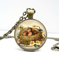 Bird Nest Necklace : Baby Chicks in Nest