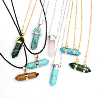 Natural Crystal Gem Turquoise Stone Pendant Necklace For Women Jewelry Accessories