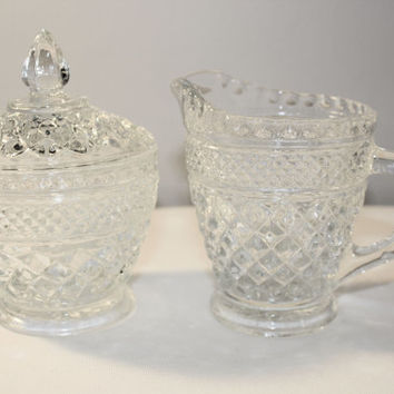Cut Glass Sugar and Creamer Set, Vintage Clear Glass Serving, Cottage Chic