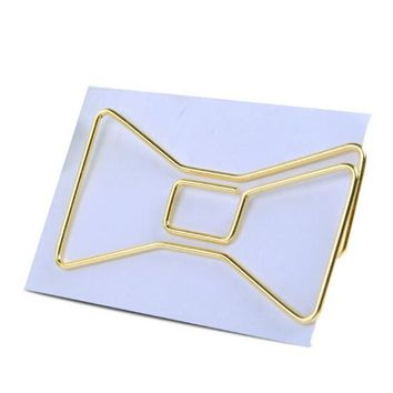 2PCS LOT Metal Material Bow Shape Paper Clips Gold Color Funny Kawaii Bookmark Office School Stationery Marking Clips