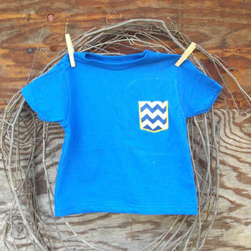 Girls Chevron Pocket T, Blue Chevron appliqued T, 6, 12, months, 2 T, 3 T, 4 T,  fall, thanksgiving, Holidays, chevron