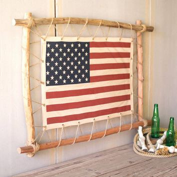 Stretched Canvas American Flag With Twig Frame