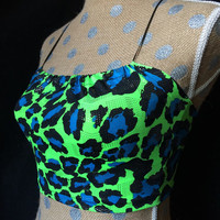 Green and Blue Leopard print surf rave festival top