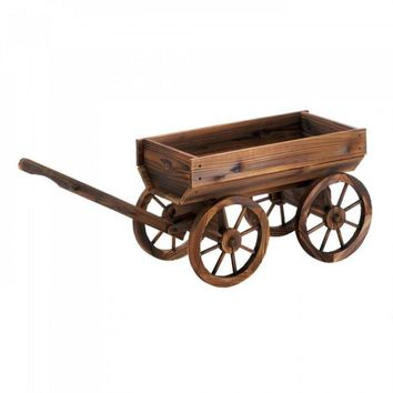 Wine Barrel Wagon Plant Cart