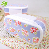 Lovely Floral Women Tableware Dinner Set Bento Lunch Box With Spoon&Fork Microwave Oven Double Layers Plastic Food Container