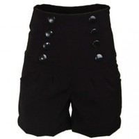 Black Double Button Stretchy Rockabilly Super High Waist Women's Shorts Hotpants