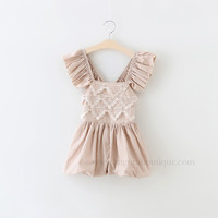 "The ""Elsie"" Taupe Beige Lace Romper"