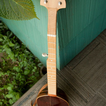 Homemade wood-topped 5-string banjo