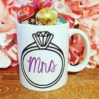 Mrs Wedding Ring Wine Glass, Bridal Shower Mug